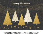 horizontal merry christmas and... | Shutterstock . vector #718589269