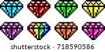 pixel art varieties of diamond... | Shutterstock .eps vector #718590586