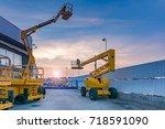 telescopic elevator for rent | Shutterstock . vector #718591090