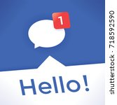social networking chat icon... | Shutterstock .eps vector #718592590