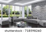 modern bright interiors. 3d... | Shutterstock . vector #718598260