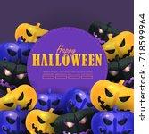 halloween background   optional ... | Shutterstock .eps vector #718599964