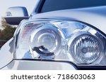 modern car headlight detail ...   Shutterstock . vector #718603063