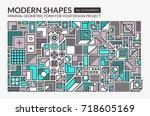 minimal modern shapes.... | Shutterstock .eps vector #718605169