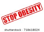stop obesity red stamp text on... | Shutterstock .eps vector #718618024