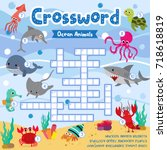 crosswords puzzle game of ocean ... | Shutterstock .eps vector #718618819