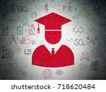 science concept  painted red... | Shutterstock . vector #718620484