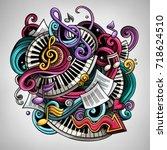 cartoon cute doodles hand drawn ... | Shutterstock .eps vector #718624510