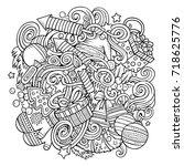 cartoon cute doodles hand drawn ...   Shutterstock .eps vector #718625776