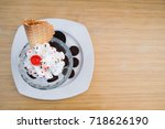 cookie sundae ice cream in cafe | Shutterstock . vector #718626190