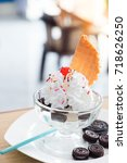 cookie sundae ice cream in cafe | Shutterstock . vector #718626250