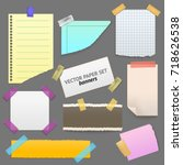realistic blank note color... | Shutterstock .eps vector #718626538