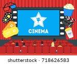 cartoon cinema concept...   Shutterstock .eps vector #718626583