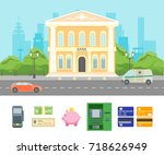 cartoon building bank on a city ... | Shutterstock .eps vector #718626949