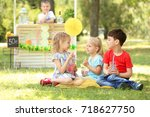 adorable little children... | Shutterstock . vector #718627750