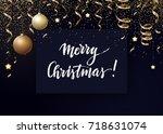vector christmas background... | Shutterstock .eps vector #718631074