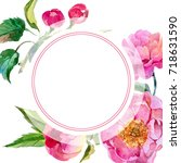 wildflower peonies flower frame ...   Shutterstock . vector #718631590