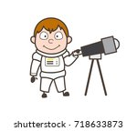cartoon astronaut holding a... | Shutterstock .eps vector #718633873