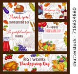 happy thanksgiving day greeting ... | Shutterstock .eps vector #718634860