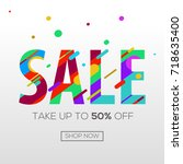 sale word with color lines.... | Shutterstock .eps vector #718635400