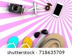 top view of traveler's... | Shutterstock . vector #718635709