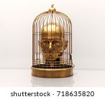 man with a cage on his head ...   Shutterstock . vector #718635820