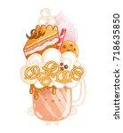 overshake cocktail character ... | Shutterstock .eps vector #718635850