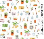 garden theme vector seamless...   Shutterstock .eps vector #718635934