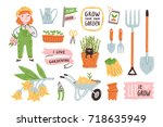 isolated garden vector... | Shutterstock .eps vector #718635949