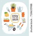 grow your own garden  vector...   Shutterstock .eps vector #718635988