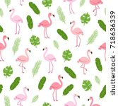 tropical seamless pattern with... | Shutterstock .eps vector #718636339