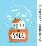 real estate theme  house for... | Shutterstock .eps vector #718636348
