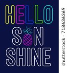 hello sun shine slogan vector. | Shutterstock .eps vector #718636369