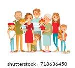 big happy multi generational... | Shutterstock .eps vector #718636450