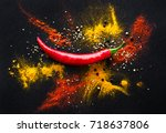 red hot pepper. spicy spices on ... | Shutterstock . vector #718637806