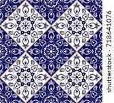 delft dutch tile pattern vector ... | Shutterstock .eps vector #718641076
