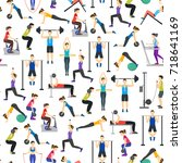 cartoon people workout exercise ... | Shutterstock .eps vector #718641169