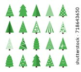 set of vector stylish christmas ... | Shutterstock .eps vector #718643650