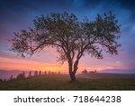 wonderful red sunrise in a... | Shutterstock . vector #718644238