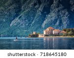 beautiful houses on a coast of... | Shutterstock . vector #718645180