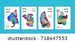 abstract  colorful curvy liquid ... | Shutterstock .eps vector #718647553