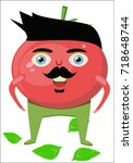 cartoon tomato character. a red ... | Shutterstock .eps vector #718648744