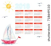 Calendar 2018 With Ships In Th...