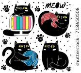 vector collection of funny... | Shutterstock .eps vector #718650508