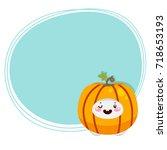 cute tooth  harvest pumpkin ... | Shutterstock .eps vector #718653193