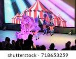 dance acrobatic group of girls...   Shutterstock . vector #718653259