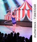 dance with rings. yalta  crimea ... | Shutterstock . vector #718653268