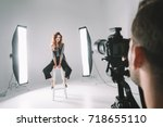 professional photographer and... | Shutterstock . vector #718655110