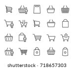 premium set of shopping basket... | Shutterstock .eps vector #718657303