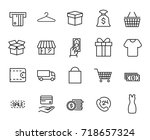 premium set of shopping line... | Shutterstock .eps vector #718657324